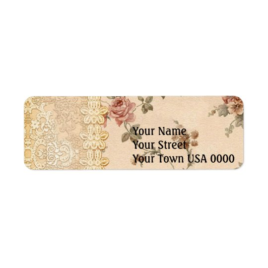 spring romance victorian rose pattern return address label