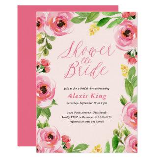 Spring Rose Floral Wreath Bridal Shower Invitation