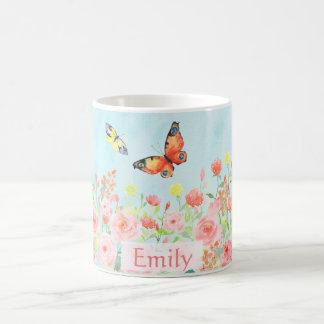 spring roses butterflies watercolor customizable coffee mug