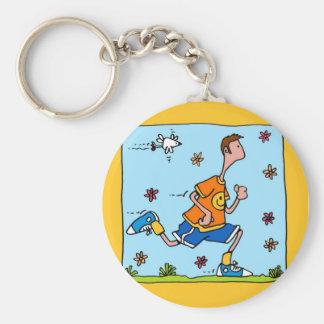 spring runner (guy) basic round button keychain