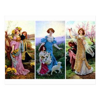 Spring Season Chidren Lamb Ladies paintings Postcard