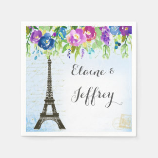 Spring Shower Napkins with Eiffel tower Disposable Napkins