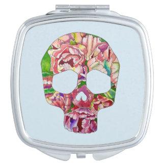 Spring skull travel mirror