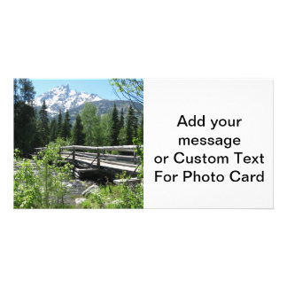 Spring Snow on Grand Tetons with Bridge over River Personalized Photo Card