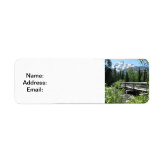 Spring Snow on Grand Tetons with Bridge over River Return Address Label
