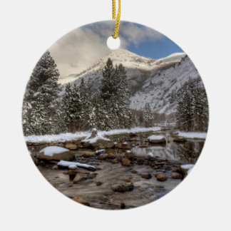 Spring snow, Sierra Nevada, CA Round Ceramic Ornament