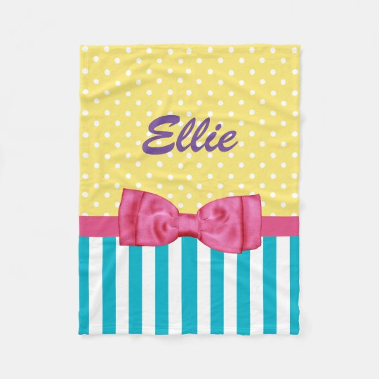 Spring Stripes and Polka Dots Pink Bow and Name Fleece Blanket