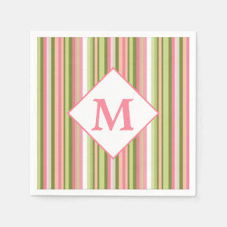 Spring Stripes Monogram Cocktail Napkin Paper Napkins