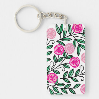 Spring Summer Colorful Pink Floral Fun and Random Keychain