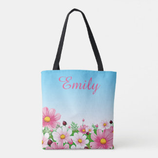 Spring Summer Floral Flower Daisy Ombre Blue Pink Tote Bag