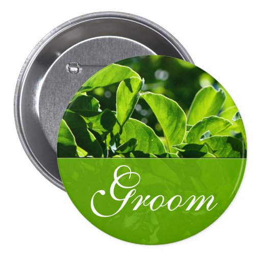 Spring, summer green leaves groom  wedding buttons