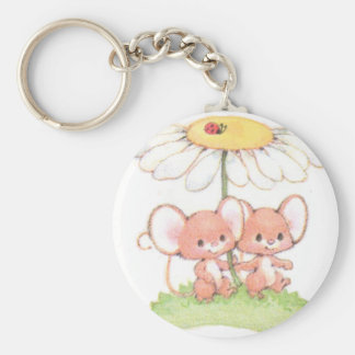 Spring Summer Love Mice Mouse Daisy Basic Round Button Keychain