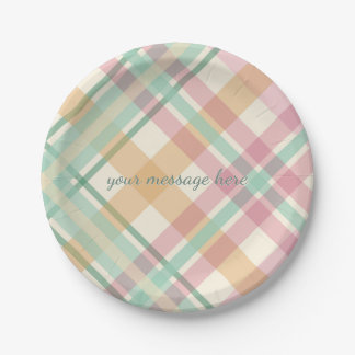 spring summer mint pastels plaid 7 inch paper plate