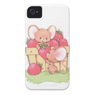 Spring Summer Strawberry Workshop Mice Case-Mate iPhone 4 Cases