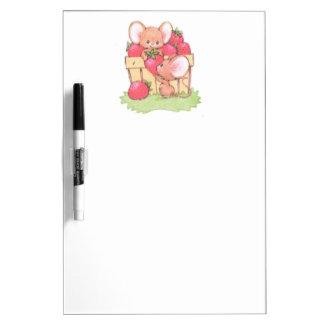 Spring Summer Strawberry Workshop Mice Dry Erase Whiteboard