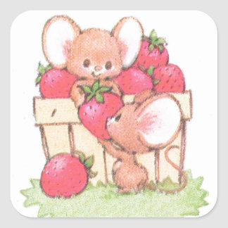 Spring Summer Strawberry Workshop Mice Square Sticker