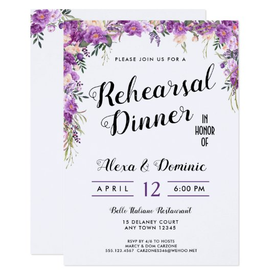 Spring Summer Wedding Rehearsal Dinner Invitation