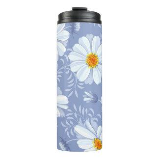 Spring Summer White Flower Blue Pattern Thermal Tumbler