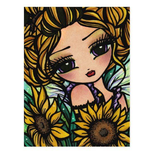 Spring Sunflower Bumblebee Fairy Fantasy Art Girl Postcard