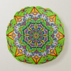 Spring Sunrise Flower Mandala Round Pillow