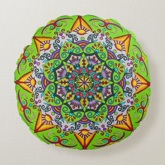 Spring Sunrise Flower Mandala Round Pillow