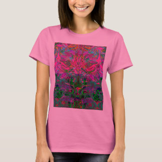 Spring time flowers in Orange, Hot Pink Lime Green T-Shirt