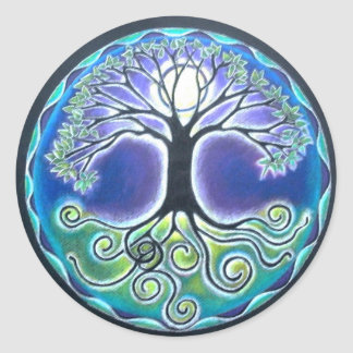 Spring time Full Moon Tree of Life Mandala Sticker