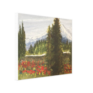 SPRING TIME IN THE ROCKIES WATERCOLOR CANVAS PRINT