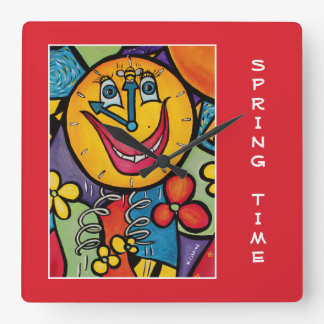 Spring Time On Red  - Time Pieces Square Wall Clock