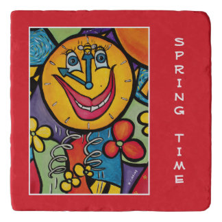 Spring Time On Red Time Pieces Trivet