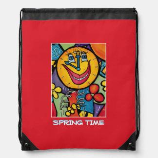 Spring Time - Red  -Time  Pieces Drawstring Bag