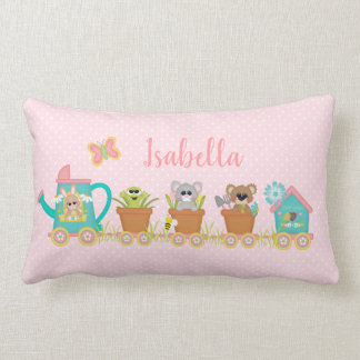 Spring Train Ride Animals Cute Baby Pillow Pink