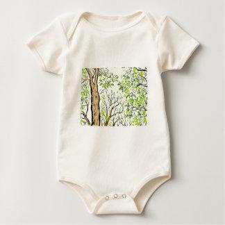 Spring tree image baby bodysuit