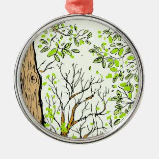 Spring tree image metal ornament