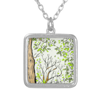 Spring tree image silver plated necklace