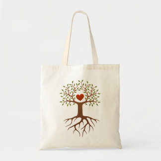 Spring tree with heart and roots tote bag
