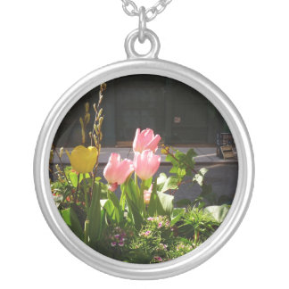 Spring Tulips Against A Street in Soho Round Pendant Necklace