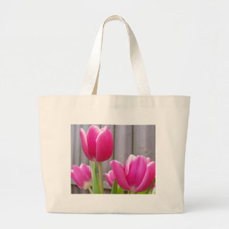 Spring Tulips Along the Fence Large Tote Bag