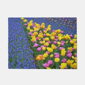 Spring tulips and bluebells doormat