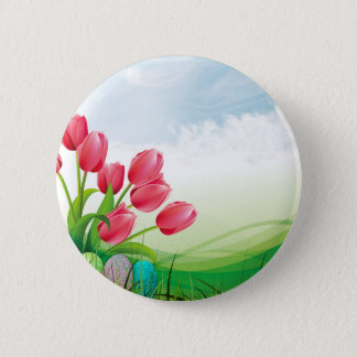 Spring Tulips and Easter Eggs 2 Inch Round Button