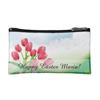 Spring Tulips and Easter Eggs Cosmetic Bags