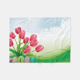 Spring Tulips and Easter Eggs Fleece Blanket