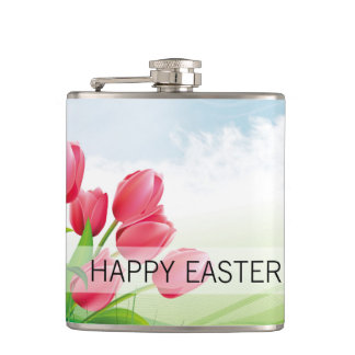 Spring Tulips and Easter Eggs Hip Flask