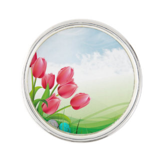 Spring Tulips and Easter Eggs Lapel Pin