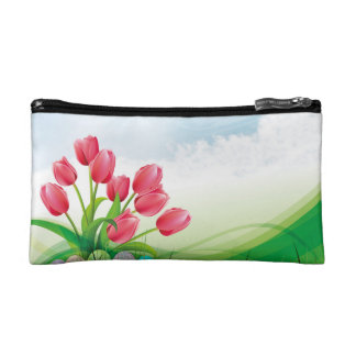 Spring Tulips and Easter Eggs Makeup Bags