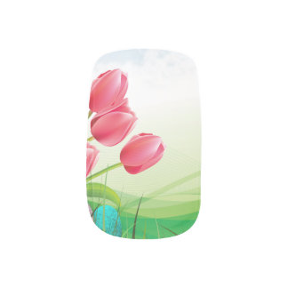 Spring Tulips and Easter Eggs Minx Nail Art
