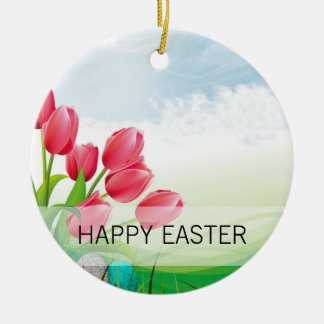 Spring Tulips and Easter Eggs Round Ceramic Ornament