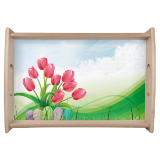 Spring Tulips and Easter Eggs Serving Tray