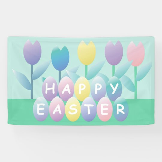 Spring Tulips and Happy Easter Eggs Banner