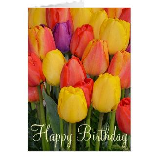 Spring tulips Birthday greeting card